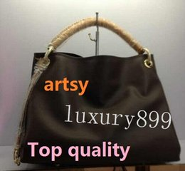 Wholesale Top Brand Ladies Bags - Top quality women European and american brand new lady real Leather artsy handbag tote bag purse v099 oxidize cowhide strap MM M40249