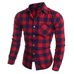 Wholesale Men S Plaid Flannel Shirt - Wholesale-New Fashion 2016 men shirt plaid Casual shirts long sleeve flannel high quality mens clothes
