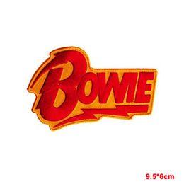 David Bowie red flash giallo ricamo ferro su cucito patch di stoffa patch Adesivi Abbigliamento Accessori Distintivi Patch da