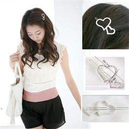 Wholesale Korean Hair Pins Accessories - Fashion Korean Double Heart Hair Clip Jewelry Silver Rhinestone Hair Pin Hair Accessories A6R14