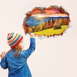 Wholesale 3d Pictures Wall Art - Fashion creative personality 3D stereo The scenery is like a picture. wall broken wall stickers wall effect of landscape painting