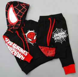 Wholesale Spiderman Sweatshirt - 2016 Spring Autumn Boys Set Baby Kids Sets Spiderman Hooded Long Sleeve Tops Sweatshirt + Pants 2pcs Tracksuit Children Outfi