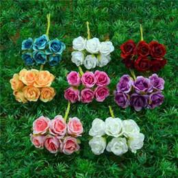 Wholesale Mini Silk Flowers For Weddings - 6pcs lot 2cm Silk Gradient Mini Rose Artificial Flower Bouquet For Wedding Decoration DIY Wreath Gift Scrapbooking Craft Flower