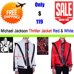 Wholesale Michael Jackson White Jacket - Fall-Michael Jackson Costume - Thriller Leather Jacket - Two Pieces - Red & White