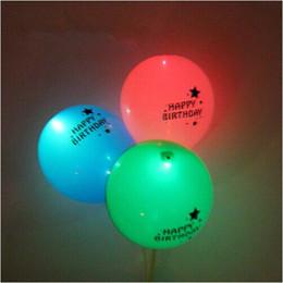 Wholesale Sky Lantern Balloons - 12inch happy birthday Flash LED Balloons Luminous Glow In The Dark Sky Lanterns Birthday Party Decoration Valentine's Day