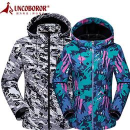 Wholesale Men Shark Skin Jacket - UNCO BOROR Outdoor Shark Skin Soft shell Jacket Men women Waterproof Windproof Hiking Camping Skiing Camouflage Hooded windbreaker Coat