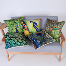 Wholesale Peacock Throw - 45cm Hot Sale Green Peacock Feather Cotton Linen Fabric Throw Pillow 18inch Fashion Hotal Office Bedroom Decorate Sofa Chair Cushion