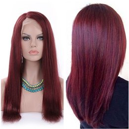 Wholesale Dark Wine Brown Hair - Side Part #99j Burgundy Glueless Full Lace Wig & Front Lace Wig Brazilian Silk Straight Human Hair Wigs Wine Red For Black Women
