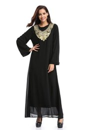 Wholesale Tea Length Cotton Casual Dresses - 2018 black chiffon lace embroideried muslim fashion womens clothing long sleeves tea length casual dresses party dresses