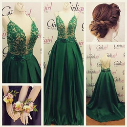 Wholesale Open Back Short Chiffon Dress - Emerald Green Lace satin prom Dresses Spaghetti Straps Open Back Sweep Train Appliques Beaded Long Formal Evening Occasion Party Gowns Cheap
