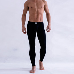 Wholesale Mens Thermal Shirts Pants - Wholesale-Solid Color Mens Long Johns Pants Thermal Underwear Low Rise Underpants M L XL Freesipping Hot