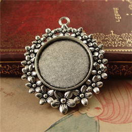 Wholesale Silver Plated Pendant Trays - BOYUTE 10Pcs Round 25mm Cabochon Tray Wholesale Vintage Style Antique Bronze Silver Plated Blank Pendant Base Jewelry Findings & Components