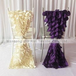 Wholesale Purple Wedding Fabric - 35cm*200cm 3D Taffeta Chiavari Chair Sash 20PCS A Lot Free Shipping (Purple Wafer & Cream Leaf Shape) 2 Style Can Be Choose