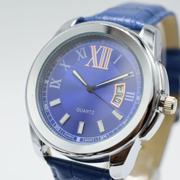 Wholesale Clock Geneva - high quality hot sale geneva luxury brand men watch fashion waterproof automatic date leather belt male clocks gift quartz men dress watches