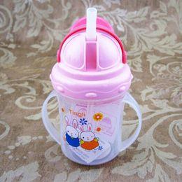 Wholesale Wholesale Newborn Bottles - Wholesale- Lovely 150 ml Newborn Baby Infant Toddler Children Learn Drinking Straw Bottle Sippy Cool