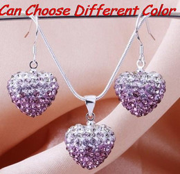 Wholesale Drop Shamballa Earrings - lowest price stock 15mm*15mm multicolor Crystal Beads mix Gradient Heart Shamballa set drop earrings Necklace Pendant