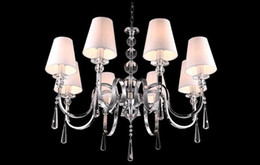 Wholesale Crystal Shades For Chandeliers - For Foyer living room bedroom dinning room vintage hanging lamp modern with fabric shade chrome european crystal chandelier