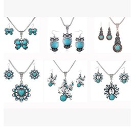 Wholesale Enamel Rhinestone Owl - Fashion Jewelry Exaggerated Vintage National Style Turquoise Owl Gourd Butterfly Heart Necklace Earrings Jewelry Set Rhinestone Jewelry Set