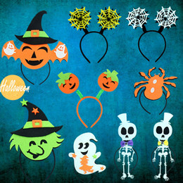 Wholesale Pumpkin Headbands - Halloween party Headbands creative adults dressing supplies pumpkin cap hoop spider web section witch hat cap and other headdress