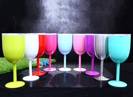 Wholesale Free Drinking Glasses - Good 10oz Vacuum Stainless Steel Wine Cup Cocktail Wine Glass Goblet Wine Cup Juice Drinks Mug With Lid