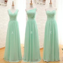 Wholesale Chiffon Strapless Cheap - Mint Green Long Chiffon Bridesmaid Dresses 2017 Cheap A Line Sweetheart Pleated Bridesmaids Dress Backless Formal Gowns under 50