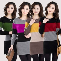 Wholesale Knit Sweater Dress Plus Size - Wholesale- 2016 Fashion New Women Long Sweater plus size striped woman pullover casual lady sweater dress purple,yellow,red,green SM,L~XXXL