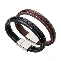Wholesale Titanium Braided - Genuine Leather Bracelets Black Brown Simple Weave Braid Bangle Cuff Wristband Cuff Titanium Magnetic Snap Fashion Jewelry drop shipping