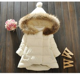 Wholesale Korean Girl Down Jacket - new brand baby girl winter jacket coat girls warm white down coat children's thick hooded coat kids korean style outwear
