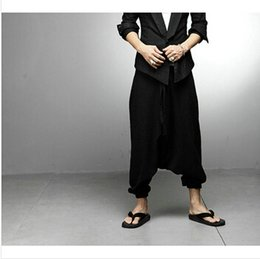 Wholesale Crop Harem - Wholesale-NEW Men Women Japanese Samurai Style Boho Casual Low Drop Crotch Loose Fit Harem Baggy Hakama Capri Cropped Linen Pants Trousers