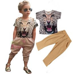 Wholesale Baby Tiger Outfit - Wholesale INS Girls Baby Childrens Outfits Cartoon Kids Clothes Sets 3D Tiger Printed tshirts Leggings Harem Pants Set Boutique Clothing