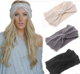 Wholesale Ladies Winter Accessories - Women Lady Crochet Bow Knot Turban Knitted Head Wrap Hairband Winter Ear Warmer Headband Hair Band Accessories Free shipping