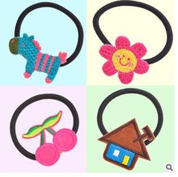 Wholesale Hair Band Hooks - Hand-woven cartoon hair bands appliance with hook ball elastic headdress flower children
