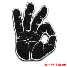 clothes repair Coupons - OK okay hand sign signal logo retro applique iron-on finger patch apparel sewing and fabric repair clothes patch