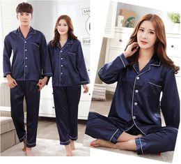Wholesale Couple Pajamas Set - Couple Pajamas Autumn Winter Casual Cotton Pajama Set Women Long Sleeves Sleepwear Men Nightwear Lounge Home Clothes Mujer Gifts