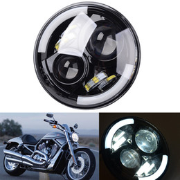 """Wholesale Universal Led Halo Rings - 7"""" Motorcycle Black Projector Daymaker HID LED Halo Ring Light Headlight Harley"""
