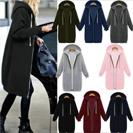 Wholesale Green Hoodie Trench - Plus Size S-5XL Hooded Jacket Women's Coat Autumn Winter Trench Jackets Coats Fashion Casual Lady's Sweatshirt Jacket Mid-long Hoodies