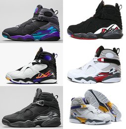 Wholesale Chrome Leather - 2016 cheap air retro 8 VIII mens Basketball Shoes aqua Chrome Playoffs Threepeat True Red Varsity Red 8 repilcas Sneakers sports Boots