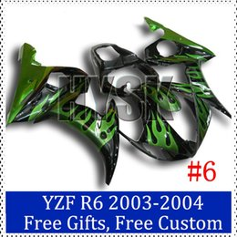 Wholesale R6 Custom Plastic - Green fire flame fairing kits for Yamaha YZF R6 2003 2004 ABS plastic Cowling 2003-2004 YZF R6 Custom Painting Motorcycle Fairing with gifts