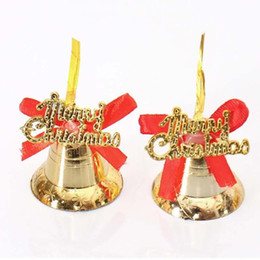 Wholesale Gold Plastic Bells - Wholesale- 12Pcs Lot Merry Chiristmas Jingle Bells Party Decorations Gold Christmas Tree Hanging Ornaments New Year Decor K35