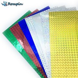 Wholesale Wholesale Fly Tying Materials - Rompin 7pcs 10*20cm Holographic Adhesive Film Flash Tape Lure Making Fly Tying Material Metal Hard Baits Change Color Sticker