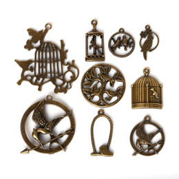 Wholesale Bird Cage Pendant Charm - Free shipping New 35pcs lot Mixed Style Zinc Alloy Antique Bronze Plated Bird Cage Charms Pendants Diy Jewelry Handmade Crafts jewelry maki