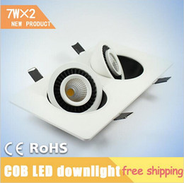 Wholesale Off Grid Light - 2016 New arrivals 7W*2 Double Heads COB ceiling lights 360 deg Square Rotary Gimbal Led Recessed Grid Ceiling Lamp for bedroom