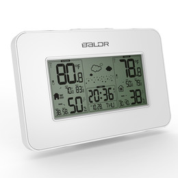 Wholesale digital wireless weather station - New Baldr Weather Station Clock Indoor Outdoor Temperature Humidity Display Wireless Weather Forecast Alarm Snooze Blue Backlight White