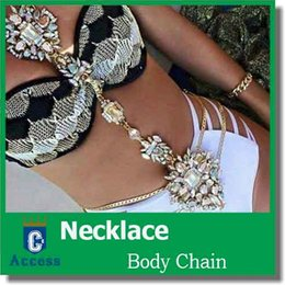 Wholesale Long Set Chain - New Hot 2016 ZA Long Body Chain DIY Handmade Luxury Blue Red Gem Fashion Crystal Necklace Pendant Set Statement Summer Vacation