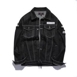 Wholesale Denim Jacket Men Print - Wholesale free shipping men black denim jacket hole washed ripped patchwork print on back hip hop coat
