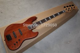 Wholesale Bass Guitar Natural Electric - Free Shipping Bass Guitar 4 Strings natural Wood brown Active pickups electric Bass Guitar
