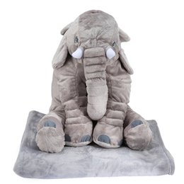Wholesale Animal Pillow Blanket - Stuffed Toys Adorable Simulation Soft Giant Elephant Plush Doll Toy Pillow with Blanket Birthday Christmas Gift for Children