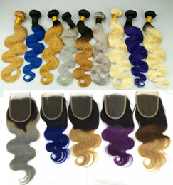 Wholesale Medium Brown Lace Closure - Brazilian Body Wave Human Hair Weaves with Lace Closure Human Hair Weaves Ombre Red Blue Purple 99J Burgundy 1B 4 27 Hair Weft