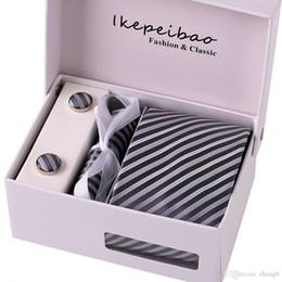 Wholesale Tie Hanky Clips - Ikepeibao New Gray Striped Ties Necktie Set Cufflink Hanky Wide Neckwear Gravata Corbatas Colar Pasta ties for Men Business Lota