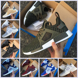 Wholesale Shoes Skulls - 2017 NMD XR1 III Running Shoes Mastermind Japan Skull Fall Olive green Glitch Black White Blue Camo Pack men womens sports shoes 36-44